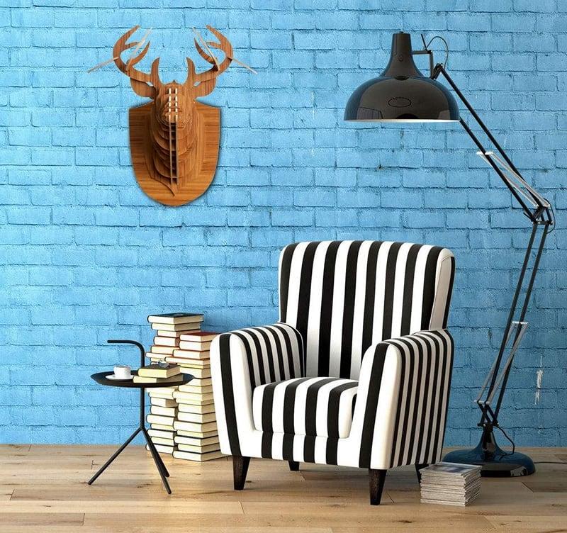 Tête de cerf design en décoration murale bois pour un intérieur design et déco