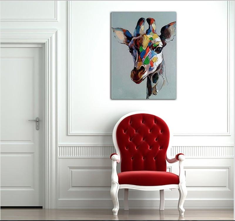 Tableau peinture animal d'une girafe colorée pour décorer vos murs design