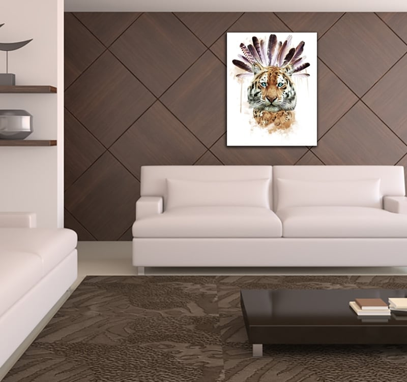 Design wall canvas of a tiger to create a nature deco in your room