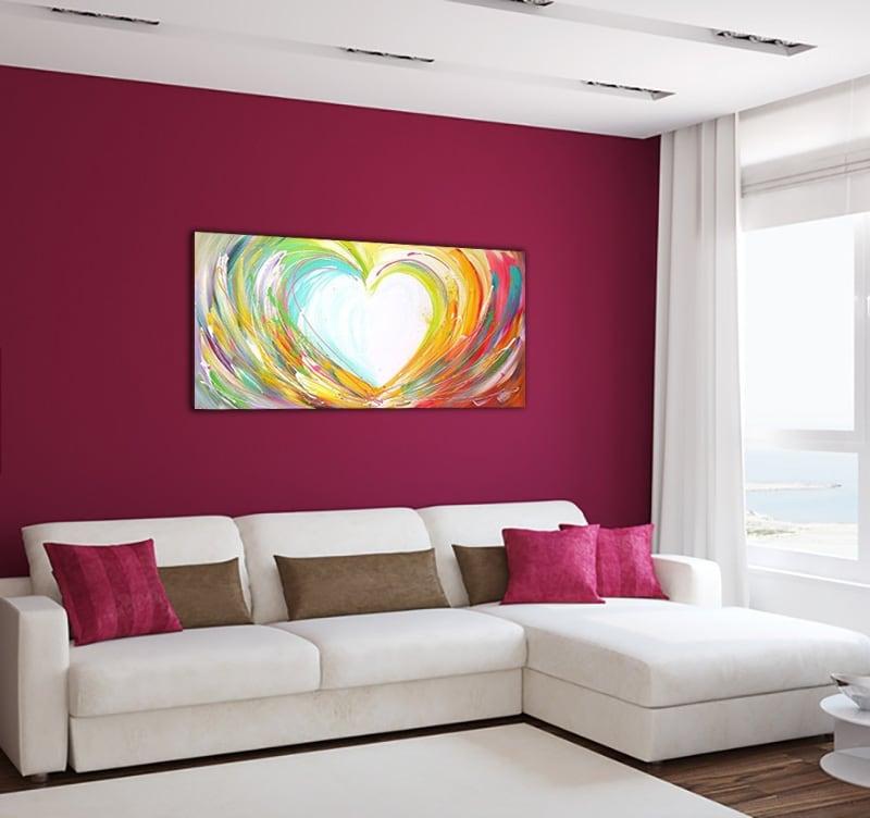 Tableau sur toile contemporaine d'un cœur multicolore pour votre décoration murale