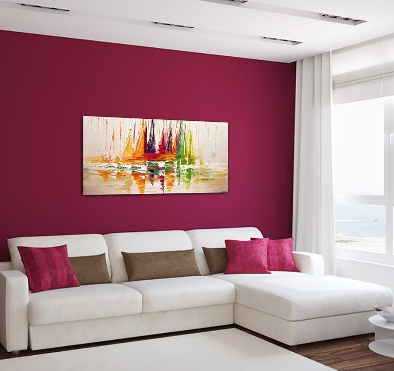 tableau contemporain peint à la main sur toile de voiliers multicolores pour un intérieur design
