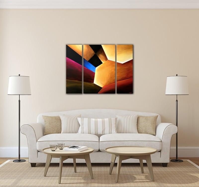 Toile abstraite peinte à la main d'un dédale de forme unique pour votre déco murs