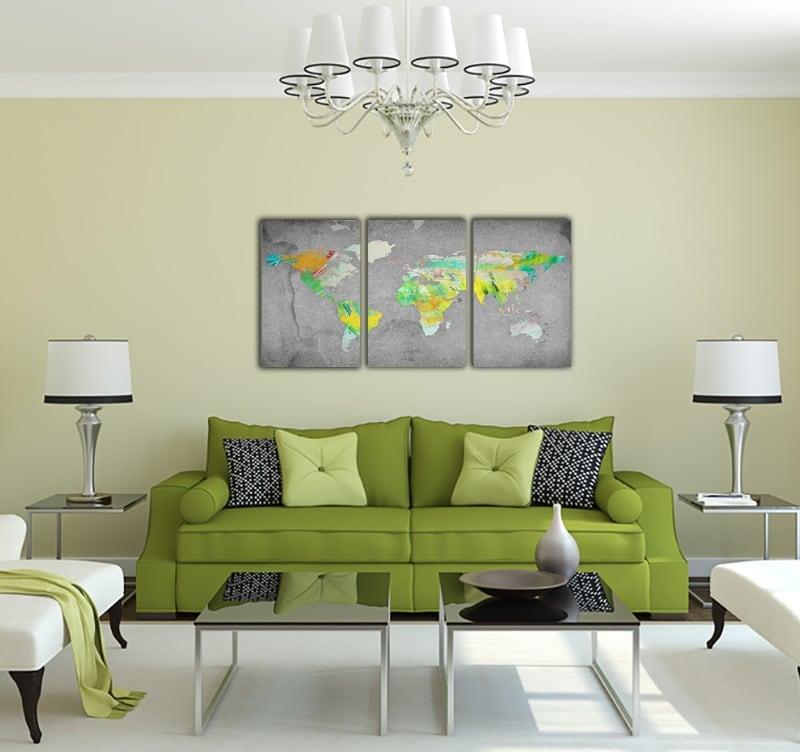 Tableau déco mural d'une carte du monde sur fond gris