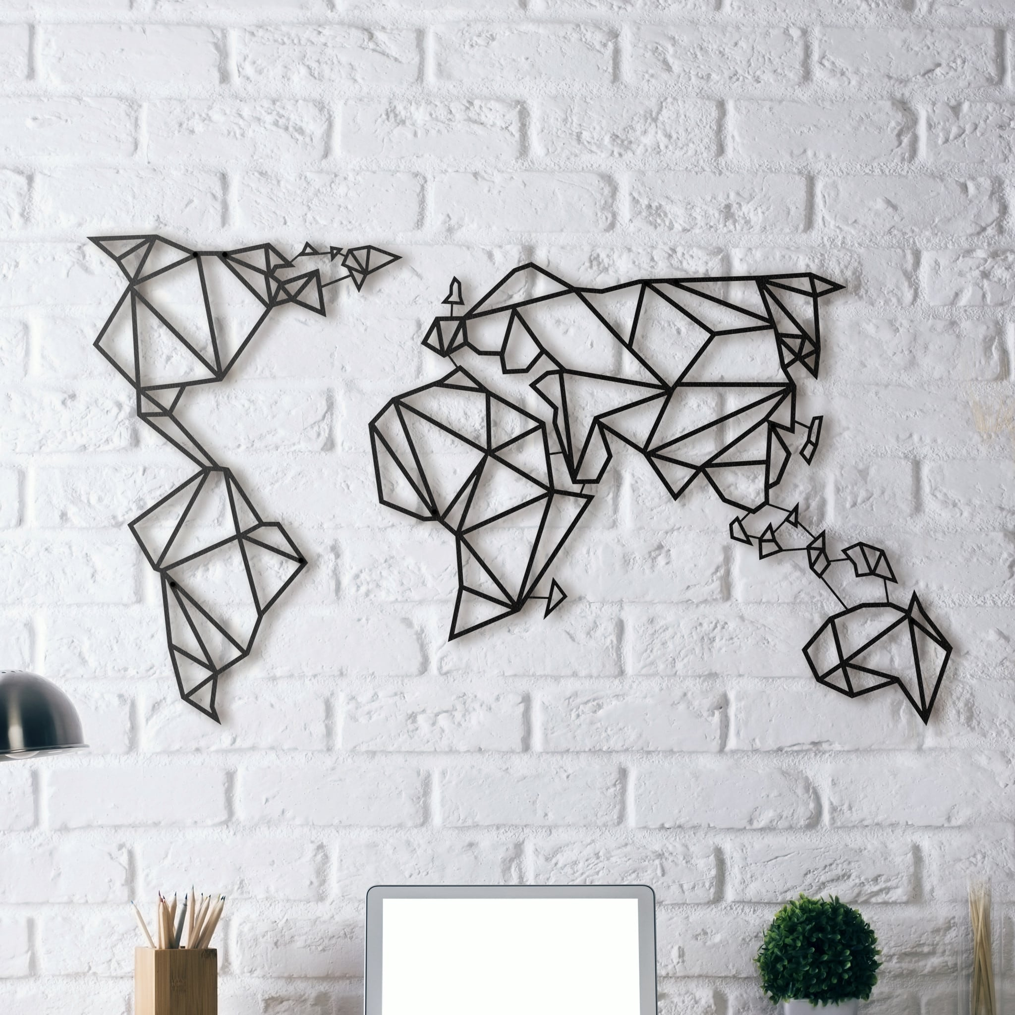 Metal wall decoration of a world map for design interior