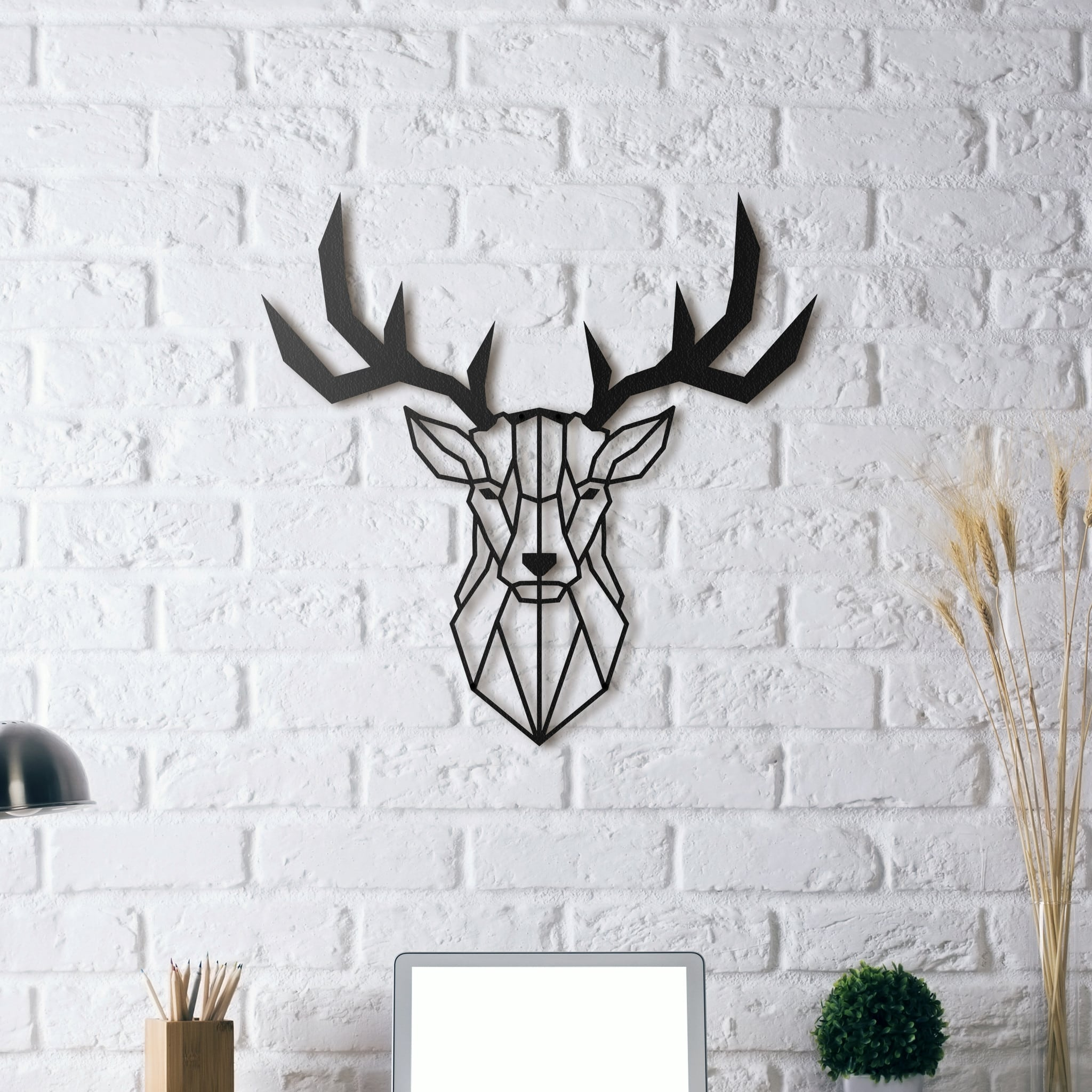Stag head metal decoration artwall and co for Decoration murale en metal noir