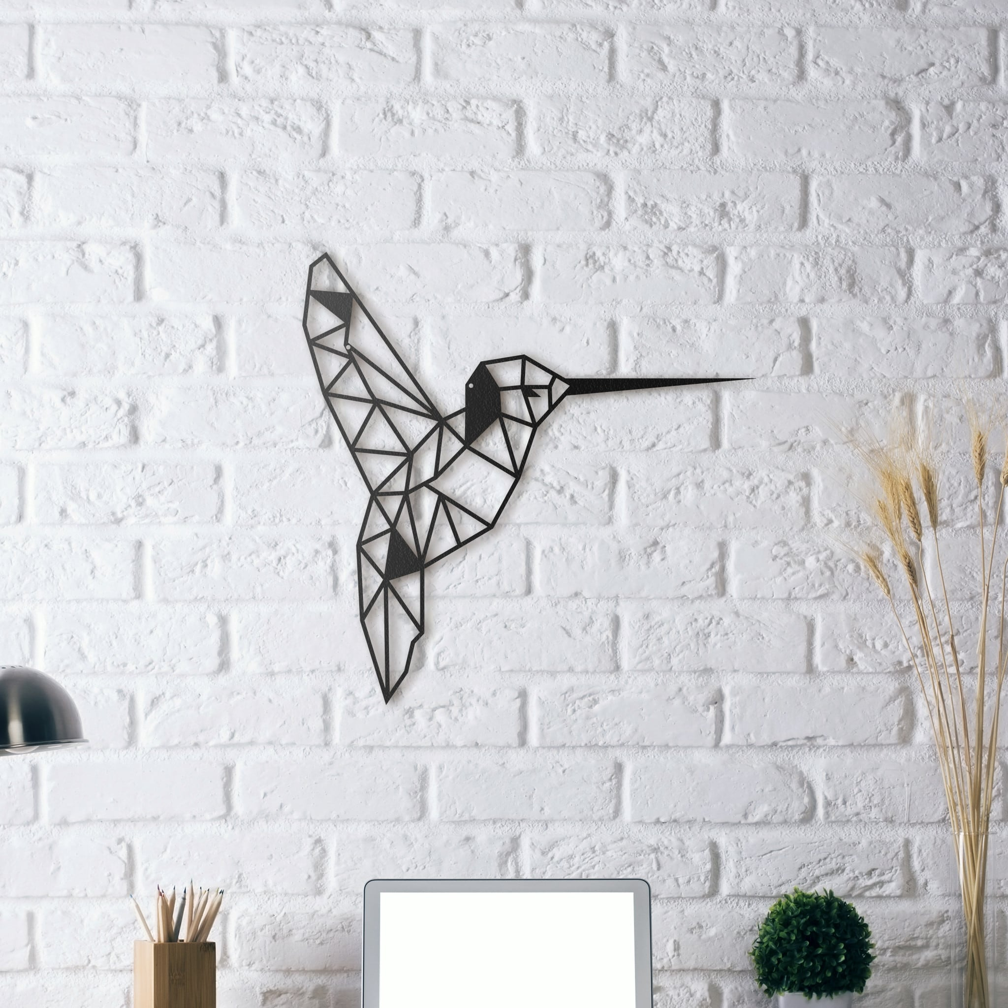 Modern metal wall decoration of a bird for a cool design