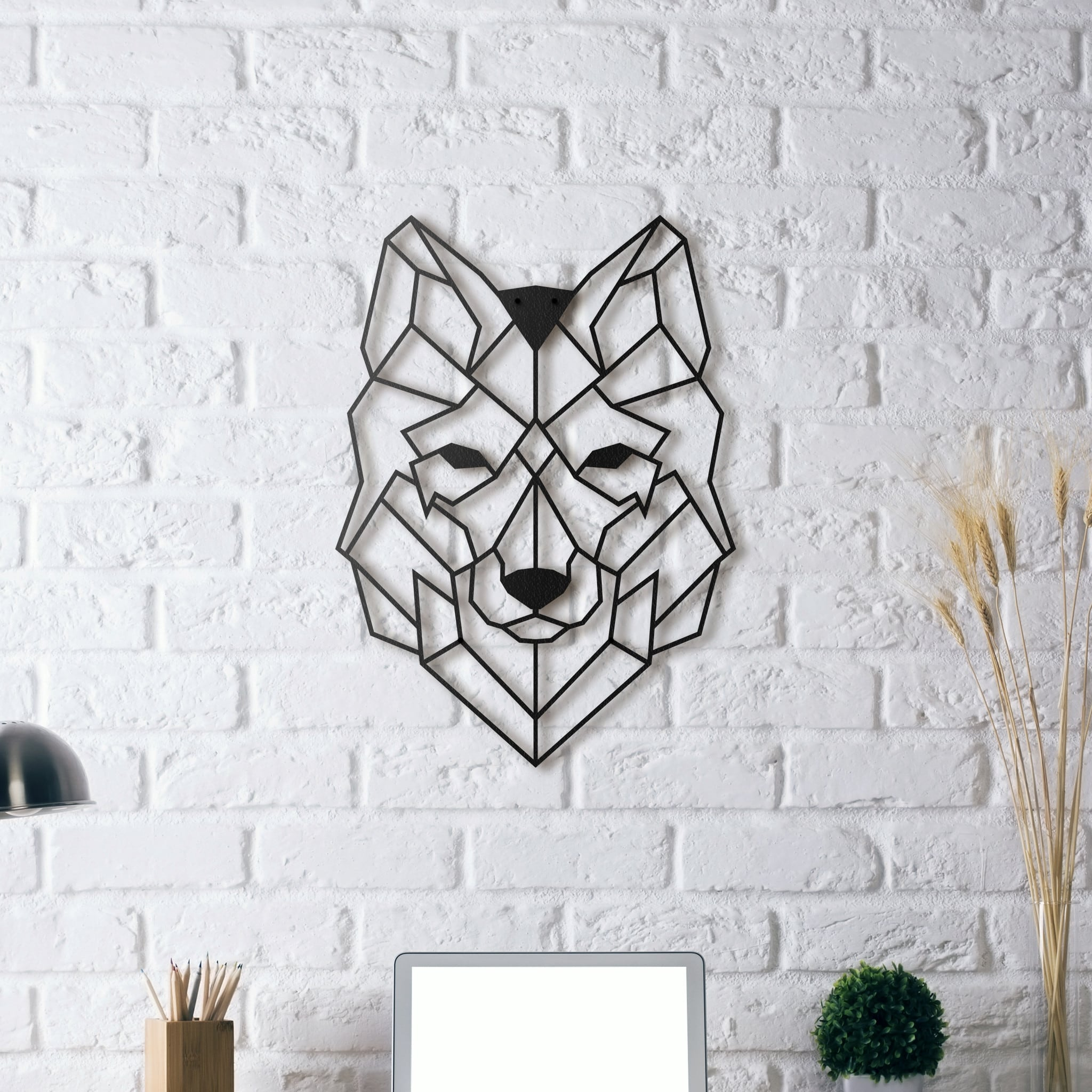 Metal wall decoration wolf artwall and co for Decoration murale geometrique