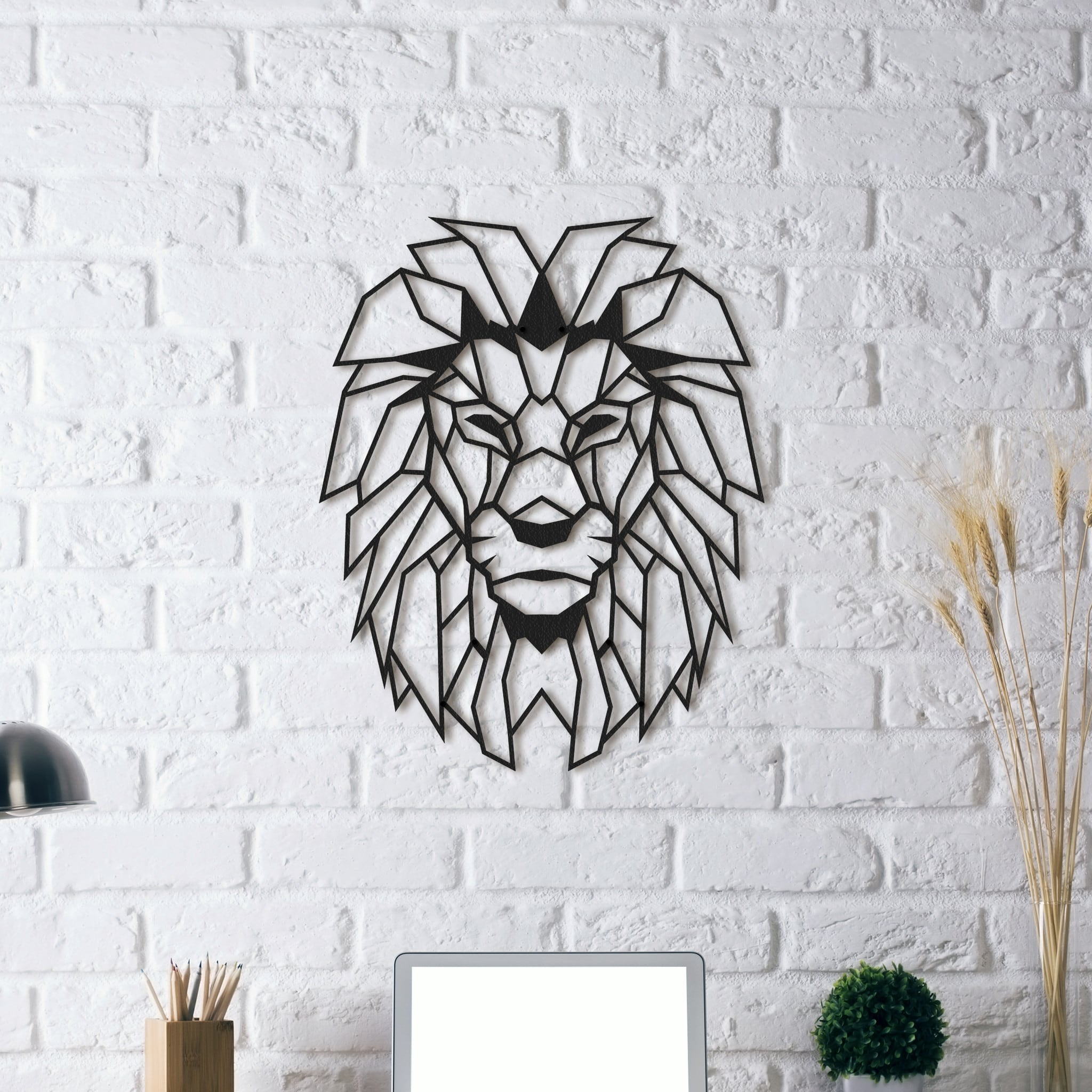 d coration design m tal lion. Black Bedroom Furniture Sets. Home Design Ideas