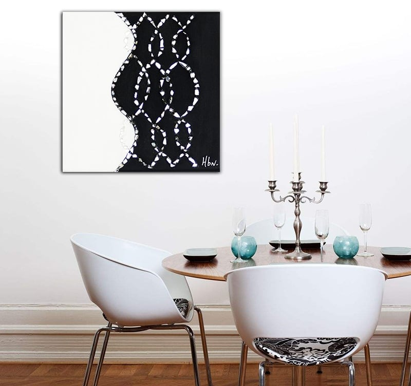 Abstract oil painting with a touch of black and white for art lovers