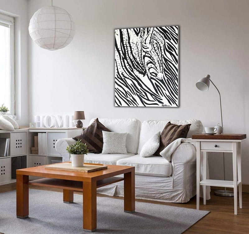 Modern oil painting of a black and white decoration HauteBrune