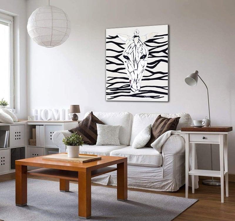 Toile abstraite peinture miroir de l'artiste HauteBrune dans un salon déco