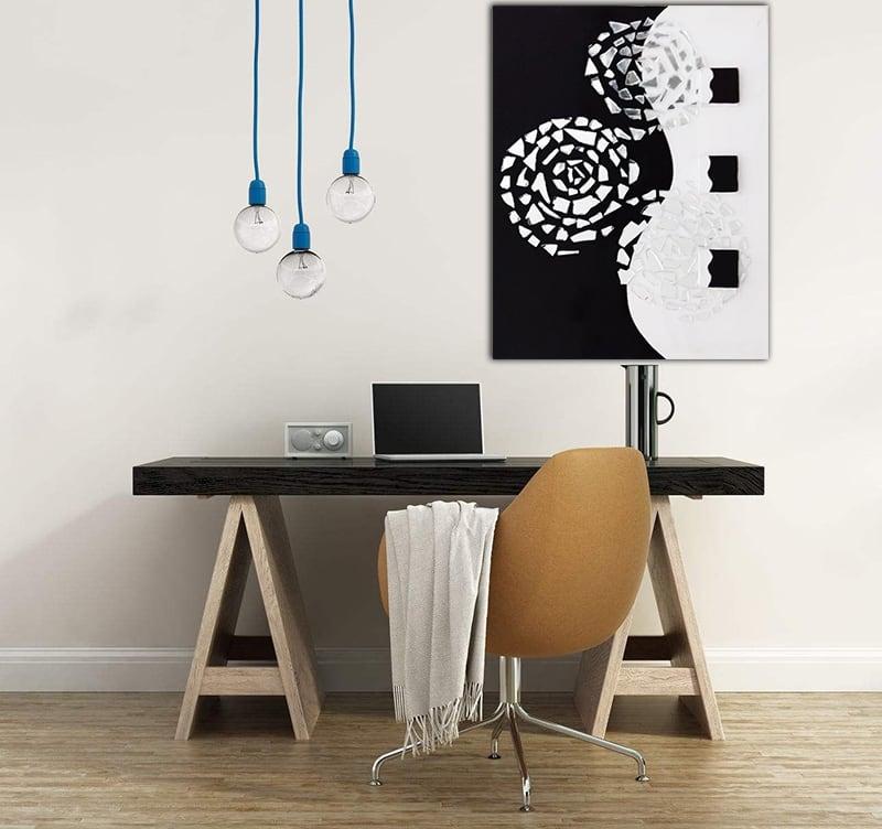Toile peinture abstraite blanche et noire de l'artiste HauteBrune