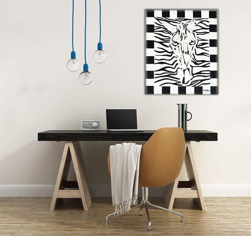 Toile peinture moderne HauteBrune d'un zèbre déco pour vos murs