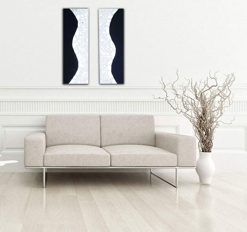 Abstract oil painting canvas of our artist HauteBrune for a mirror touch