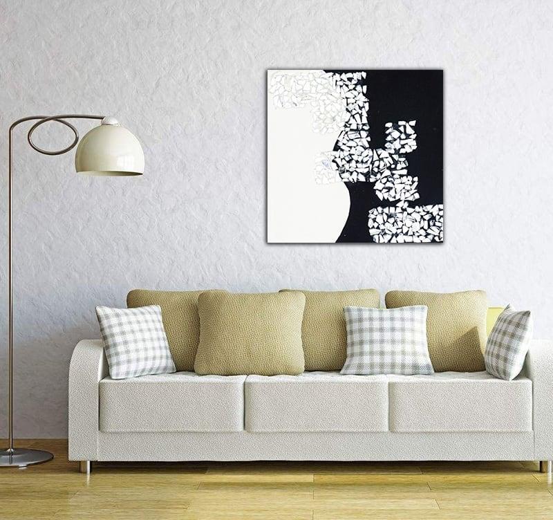 Tableau peinture blanc et noir de l'artiste Hautebrune pour votre intérieur