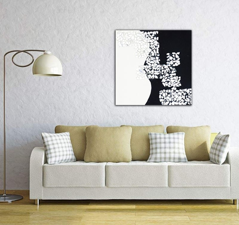 Contemporary abstract oil painting mirror of the artist hautebrune