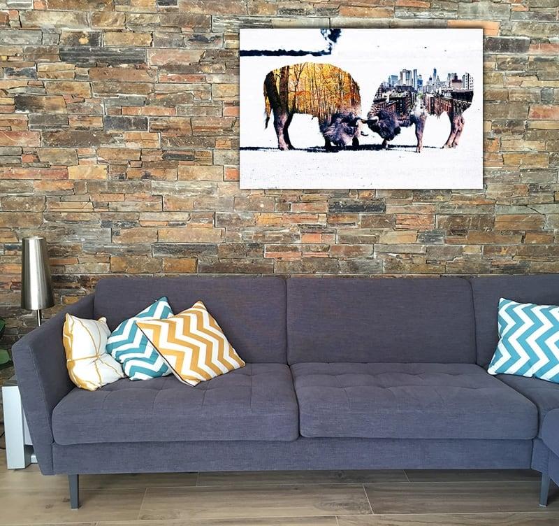 Photo d'art design de deux bisons pour un intérieur nature