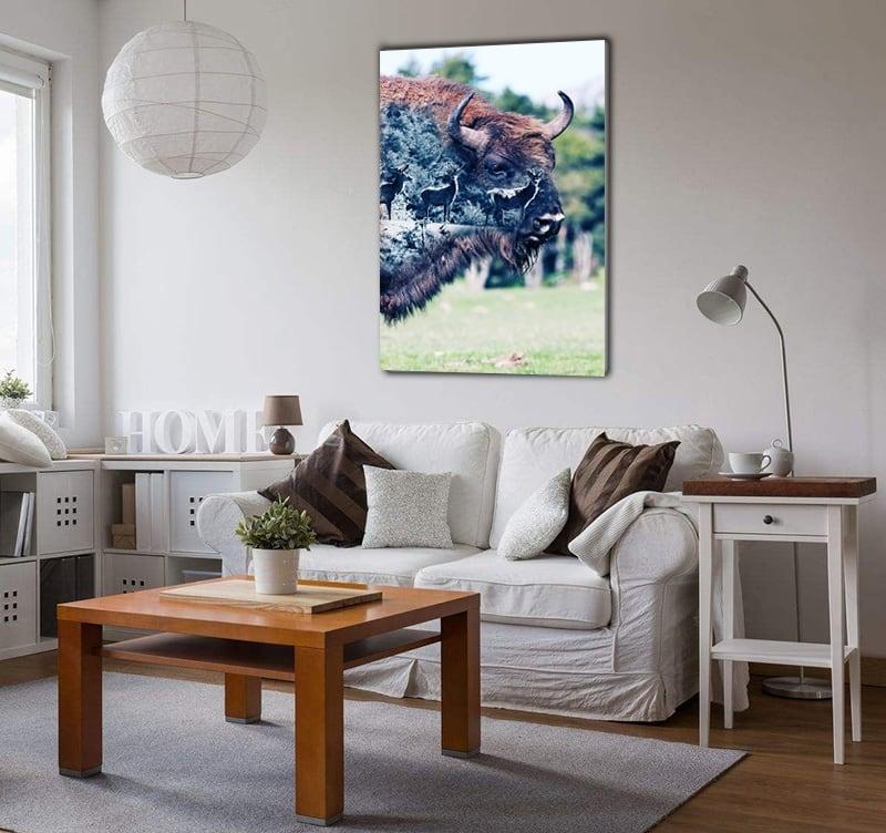 Phto d'art contemporaine animale d'un bison dans la nature