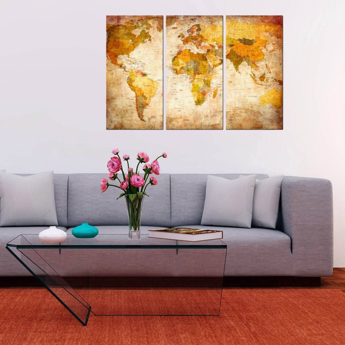 antique world map art print on canvas for a design wall decoration