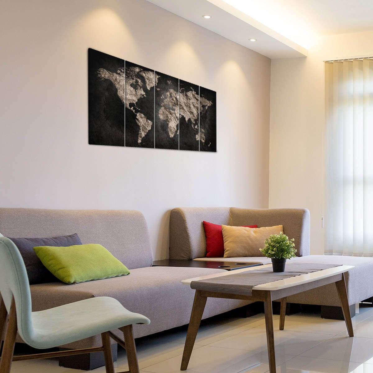 Black world map decoration on five panels canvas print for your interior