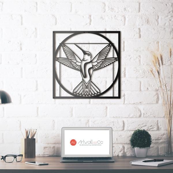 Décoration murale métal d'un oiseau selon l'homme de Vitruve