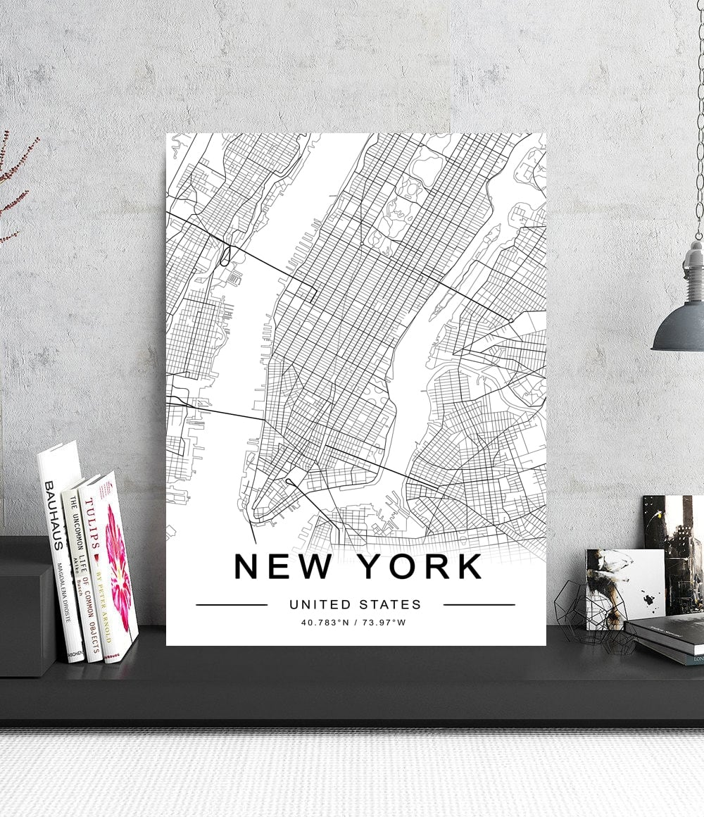 Street map of New York on an aluminium wall decoration for interior
