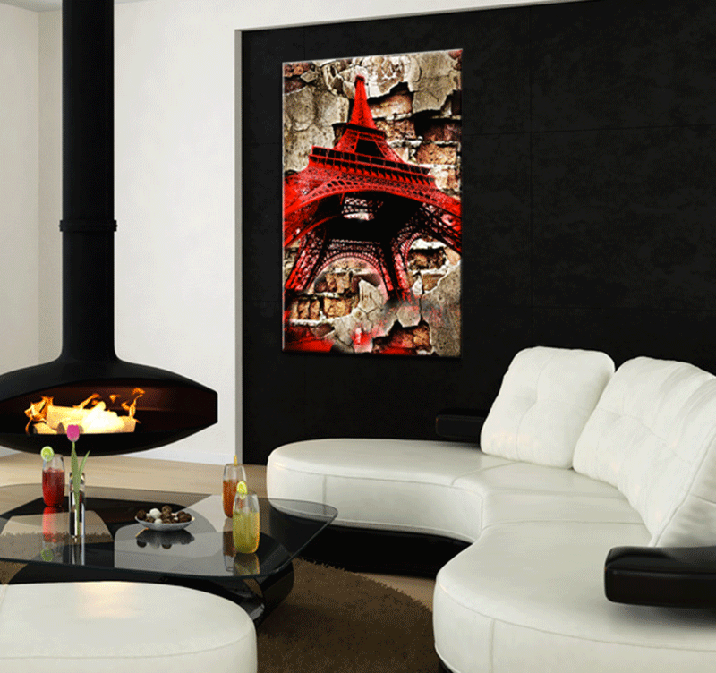 mise en situation du tableau red eiffel tower dans un salon design