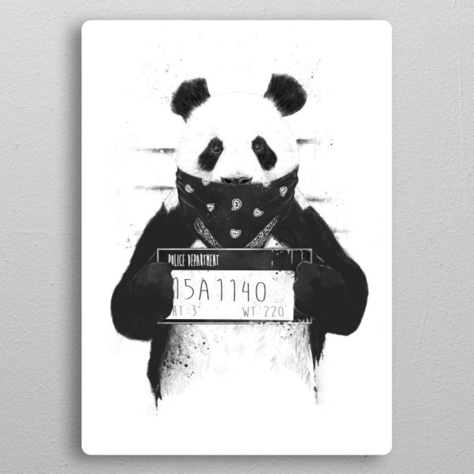 Poster mural métal panda gangster pour un intérieur stylé