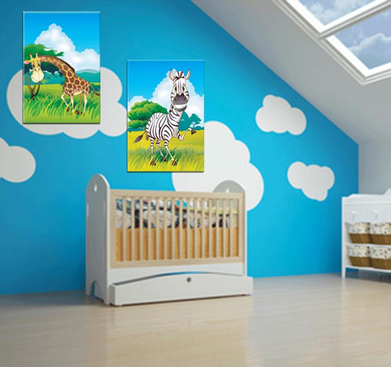 Chambre d'enfant avec le tableau Funny Jungle accroché aux murs