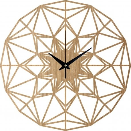 Wooden wall clock of arabesque for a trendy decoration