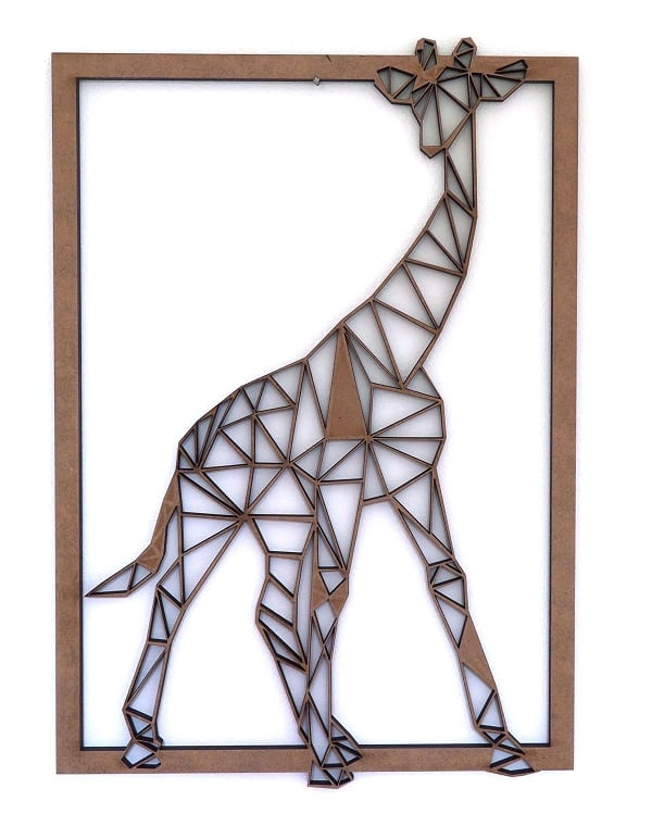 giraffe wood wall decoration for a trendy interior
