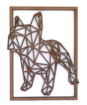 Bulldog wood wall decoration for a design interior