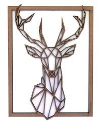 Deer head on a wood wall decoration for trendy interior