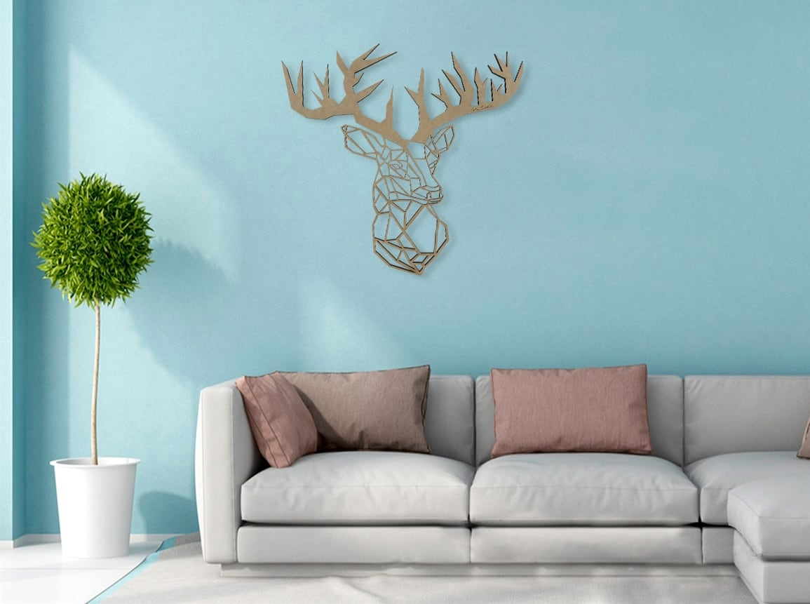 Wood wall decoration of a big deer with a unique design