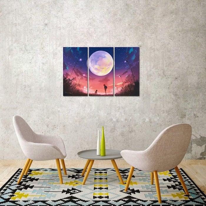 Tableau deco enfant pleine lune pour une decoration murale magique