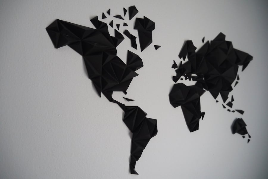 Paper world map decoration with DIY kit for interior