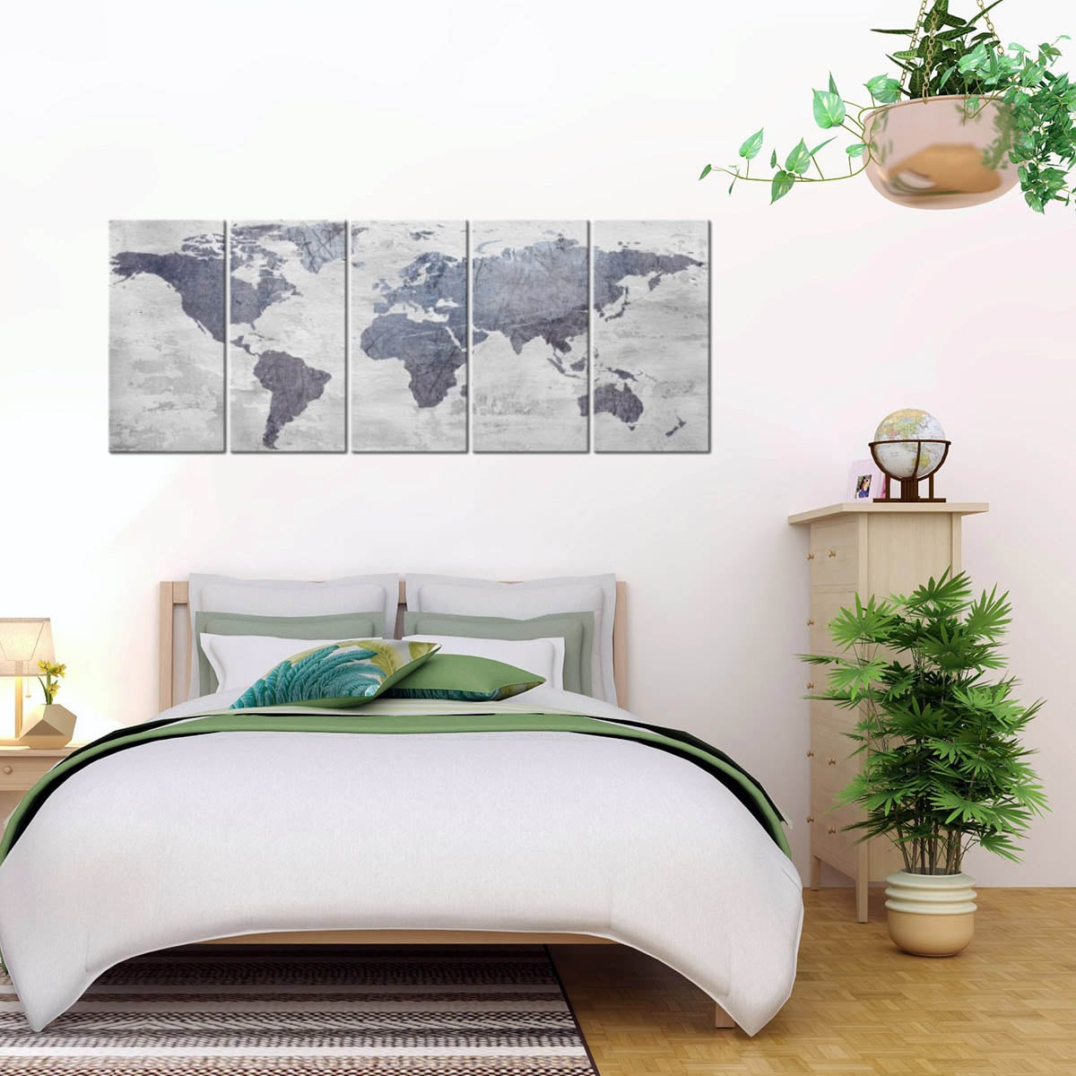 Modern world map canvas print with a concrete effect for a design wall decoration