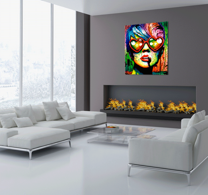 tableau pop art love glasses artwall and co. Black Bedroom Furniture Sets. Home Design Ideas
