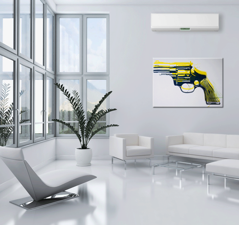 Yellow Revolver pop art canvas
