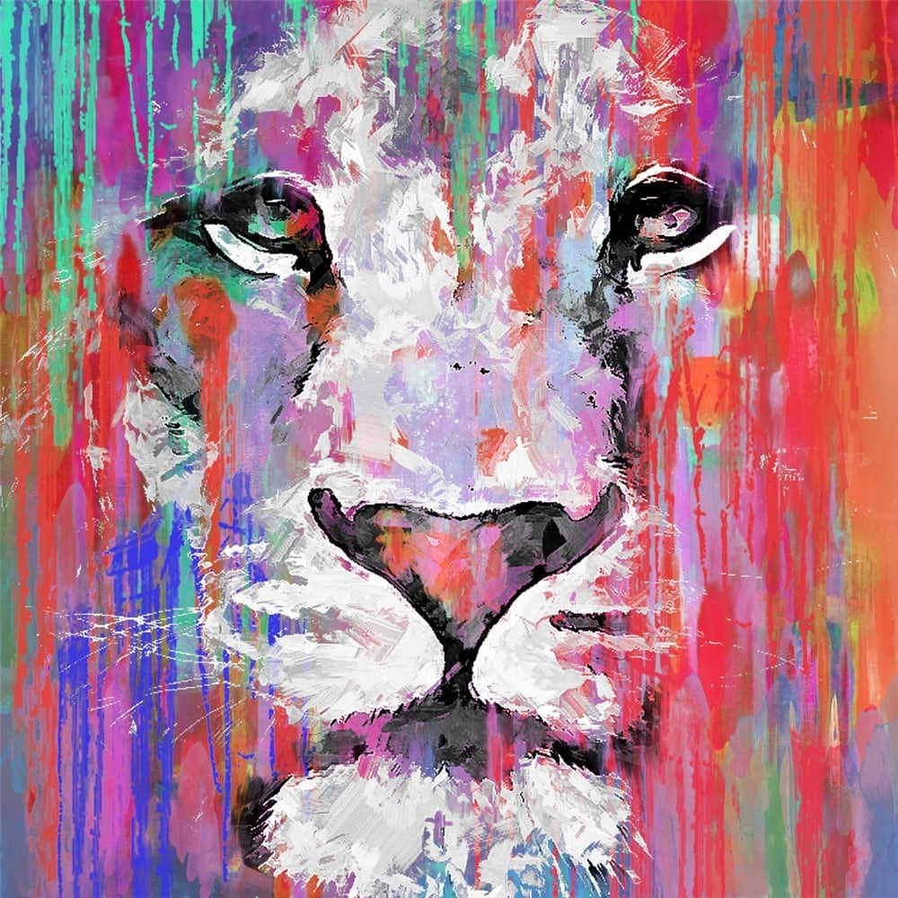 Tableau peinture collection d'un portrait de lion pop art