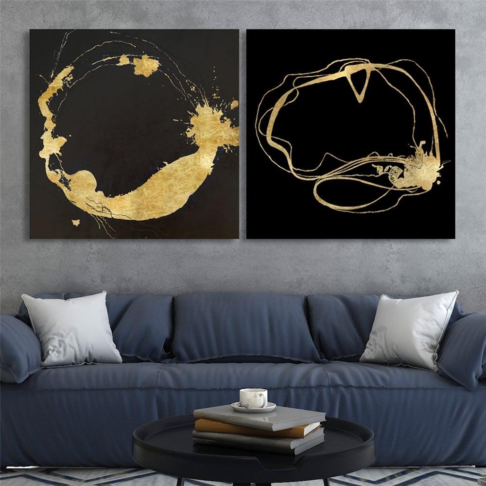 Toile peinture cercle d'or pour décoration tendance