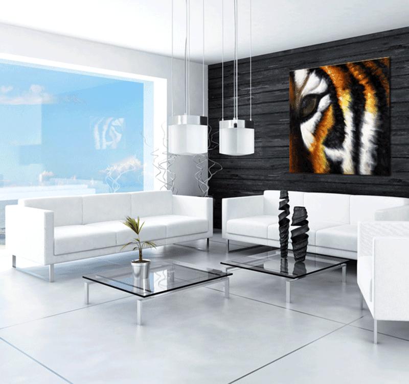 Tableau peinture contemporain d'un tigre au regard unique