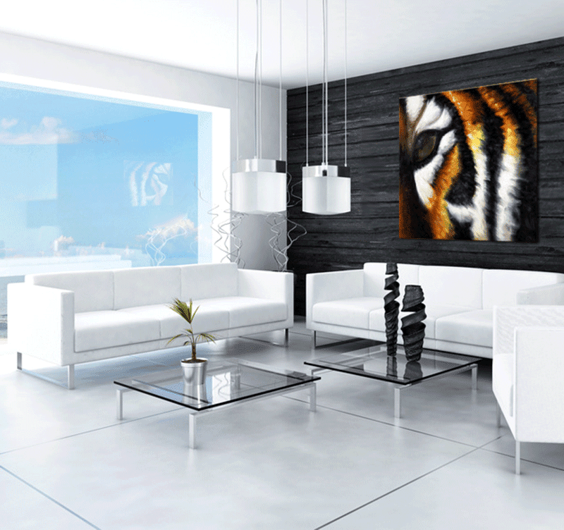 Animals painting of a tiger in a modern interior