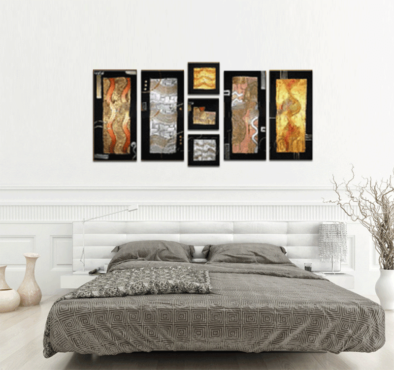 Colorful design painting on canvas in a modern room