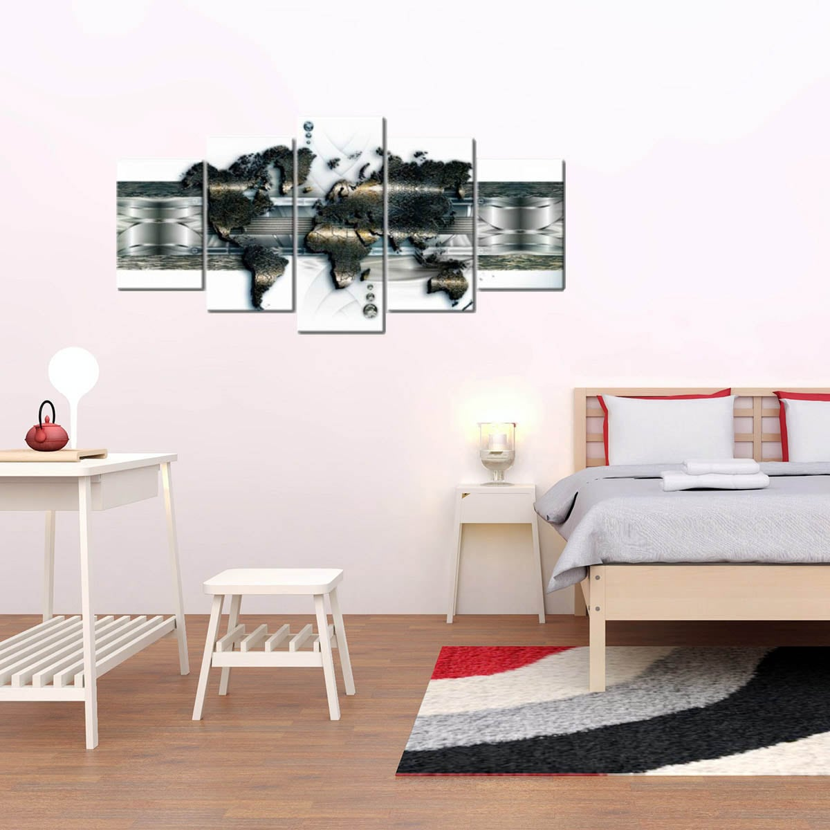 Modern wall art print of the world map with a metal effect for interior decoration