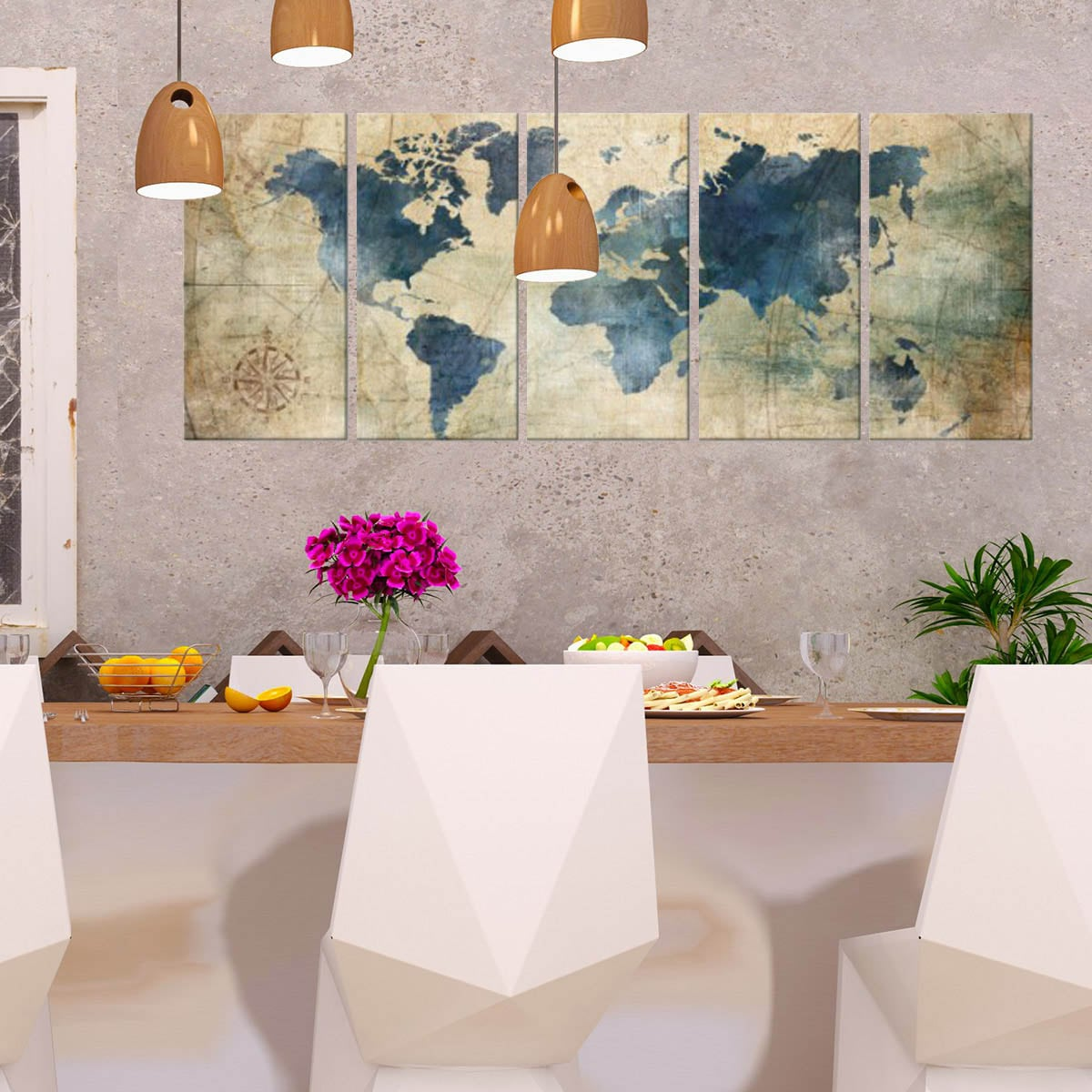 modern wall art print of the world map for a design wall decoration