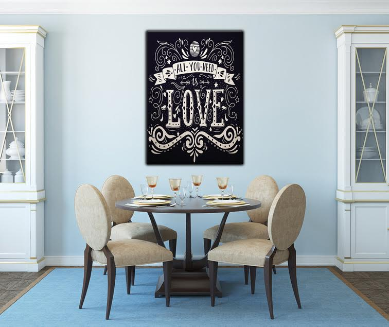 The famous song of the Beatles on a decorative canvas for a rock'n roll interior and a touch of black and white