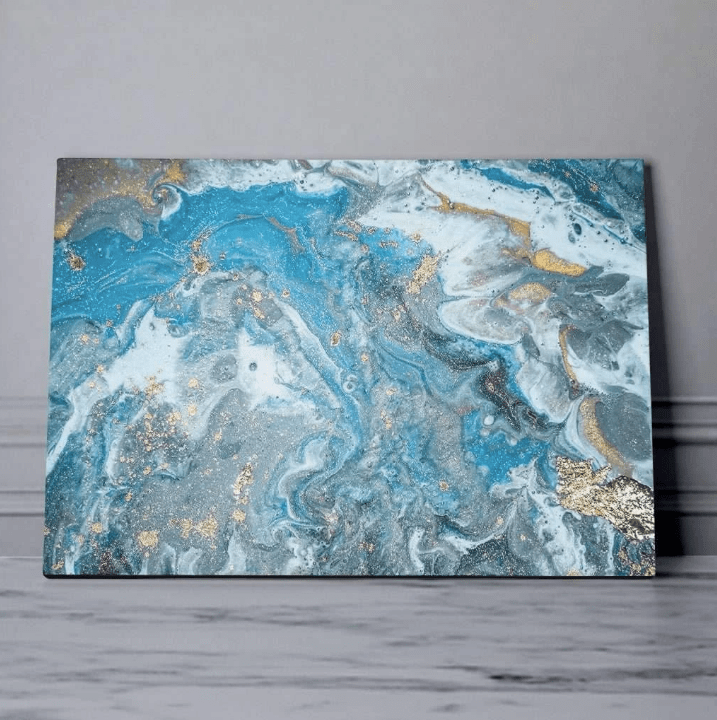 Blue abstract wall canvas for an unique modern interior or living room