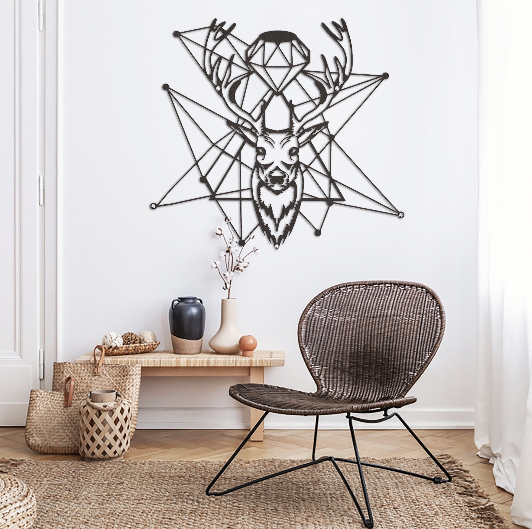 Diamond deer metal wall decoration for unique interior