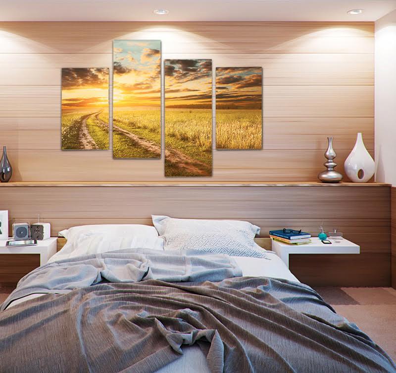 Toile imprimée design d'un champs avec un chemin qui mène vers l'inconnu pour votre décoration